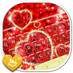 Sparkling Glitter Red Golden Heart Keyboard Theme APK icon