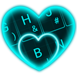 Live Neon Blue Heart Keyboard Theme APK