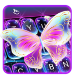 Colorful Glitter Neon Butterfly Keyboard Theme APK icon