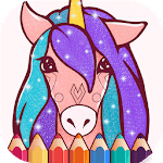 Animated Glitter Coloring Book - Unicorn APK icon