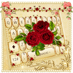 Luxurious Red Rose Golden Keyboard Theme APK