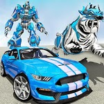 US Police Transform Robot Car White Tiger Game APK icon