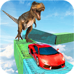 Dino car chase on impossible tracks new 2019 APK icon