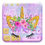 Lavender Blue Flower Unicorn Keyboard APK icon