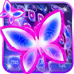 Colorful Neon Butterfly Keyboard Theme APK