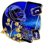 Gold and Blue Glitter Rose Keyboard Theme APK icon