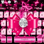 Luxury Diamond Pink Bow Keyboard Theme APK icon