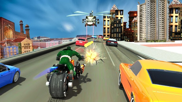 Bike Shooter Superhero: Moto Blitz Racing Shooter APK screenshot 1