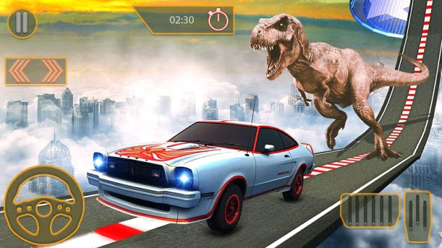 Dino car chase on impossible tracks new 2019 APK screenshot 2