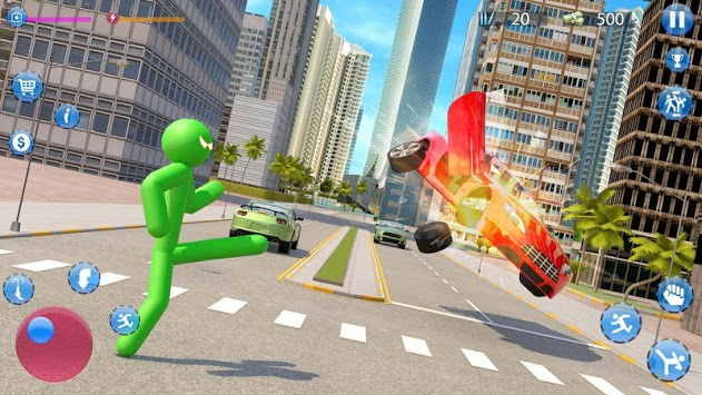 Green Hero Stickman Criminal Mafia APK screenshot 1