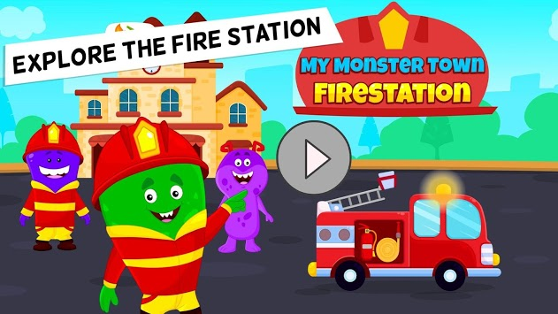 My Monster Town - Fire Station Games for Kids APK screenshot 1