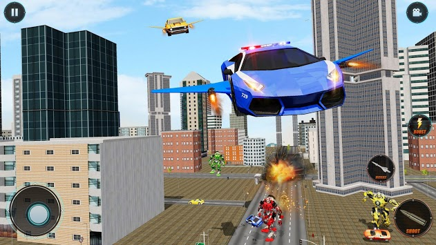 Real Police Robot Car : Flying Car Games APK screenshot 2