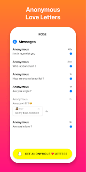 Rose: Anonymous Love Messages for Snapchat Friends APK screenshot 3
