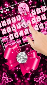 Luxury Diamond Pink Bow Keyboard Theme APK screenshot 1