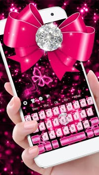 Luxury Diamond Pink Bow Keyboard Theme APK screenshot 2