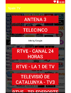 Direct television channels of the Spain channel APK